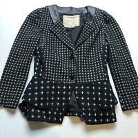 Anthropologie Cartonnier Black Print Blazer Jacket Faux Leather Sz XS A1757