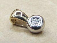 Diamant Clip Anhänger aus 14K 585 Gold Bicolor mit Brillant ca. 0,07 ct. SI1 / K