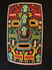 "Vintage Huichol Mexican Folk Art Seed Bead Large 12"" Tribal Mask Wall Art"