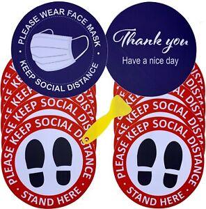 "10 Pack 8"" Social Distancing Floor Signs, Keep 6 Feet Distance Label"