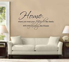 "42"" Home Is Where You Treat Friends Like Family Wall Decal Sticker Quote Mural"