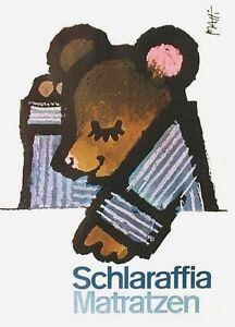 Original vintage poster MATTRESS SCHLARAFFIA TEDDY BEAR c.1965