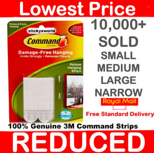 3M Command Strips Self Adhesive Picture Frame Hanging Strips Poster Strips LARGE