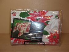 New listing New In Package Vintage Yuletide Permanent Press Table Cloth Poinsettias 52 X 70