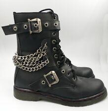 NEW NWOB Demonia Disorder-204 Black Combat Biker Style Boots 14