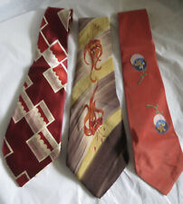 Vintage 1940s Men's Ties Hand Painted Calilfornia