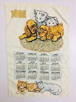 Vintage Puppies And Kittens Tea Towel 1986 Calendar Linen Wall Hanging Kitchen