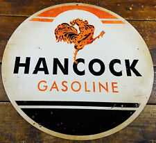 "Hancock Gasoline Rooster Strutting Logo Gas Station 14"" Round Metal Adv Sign"