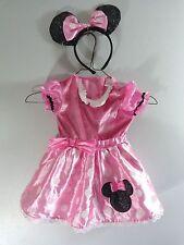 Disney MINNIE MOUSE Costume 12-24 Mo Pink Satin Dress Black Headband Ears Bow