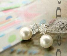 Silver and pearl snowflake stud earrings, Super cute