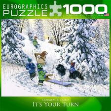 EUROGRAPHICS JIGSAW PUZZLE IT'S YOUR TURN DOUGLAS LAIRD 1000 PCS SNOW SLEDDING