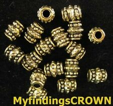 100 pcs Antiqued gold beaded barrel spacers FC948