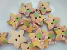 pack of 7 wood buttons - painted star shapes.  size 12mm with 2 holes