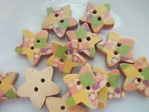 pack of 7 wood buttons painted star shapes. size 12mm with 2 holes, sewing craft