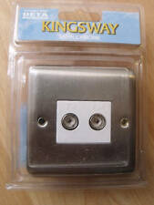Kingsway K1941W Satin Chrome twin co-axial isolated socket white inserts