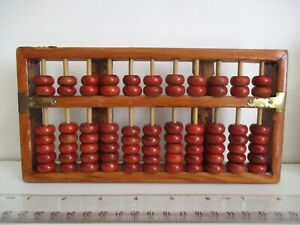 Vintage CHINESE ABACUS wood & ornate brass ends, hand calculator - Diamond brand