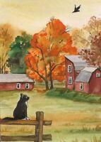 ACEO PRINT OF PAINTING HALLOWEEN TUXEDO CAT RAVEN CROW RYTA LANDSCAPE FOLK ART