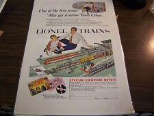 VINTAGE - LIONEL TRAINS - ADVERTISEMENT - 1954 - EXCELLENT