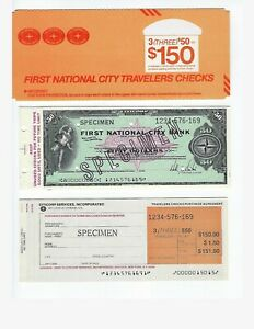 SPECIMEN  FIRST NATIONAL CITY BANK  TRAVELERS CHECKS BOOKLET WITH FORMS UNC