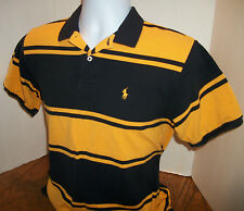 Ralph Lauren Polo Small Pony 100% Cotton Yellow Black Polo Shirt Youth Boy's L