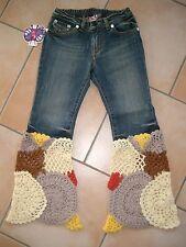 (228) Süß Nolita Pocket Girls Jeans Hose mit gehäkelten Beinen Schlaghose gr.140
