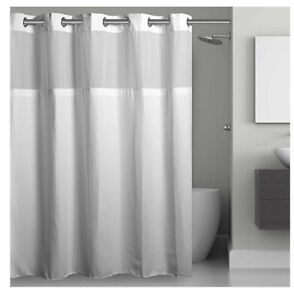 "Hookless 71""""x74"""" Waffle Fabric Shower Curtain - White"