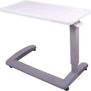 Overbed Table With Swivel Wheels Hospital Bed Table Adjustable Height XL Surface