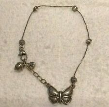Brighton Retired Butterfly/Mariposa Antique Silver anklet ankle bracelets