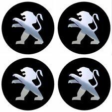 4 stickers PEUGEOT noir chrome 40 à 100 MM centre jantes 205 206 106 306 307