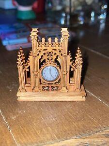 Cathedral Clock Shelf Clock - Artisan Dollhouse Miniature