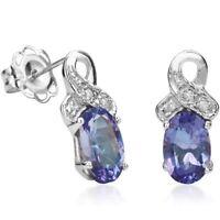 Ohrringe/Ohrstecker Jamie, 925er Silber, 0,87 Kt. echter Tansanit/Diamant