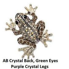 Beautiful Golden Bronze Aurora Borealis Crystal Frog Brooch Hijab Pin Head
