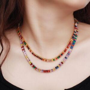 Multicolor Rainbow Baguette CZ Necklace for Brides Wedding Costume Boho Jewelry