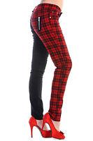 Banned Check Half Black Split leg Trousers Skinny Jeans Pants 8 10 12 14 16 RED