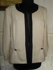 Blazer veste droite sans boutons beige revers noir UN JOUR AILLEURS 46F 18UK 44D