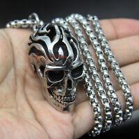 Men's Huge Vintage Skull 316L Stainless Steel Biker Necklace Pendant Moving Jaw
