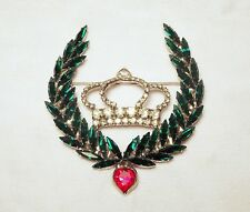 Large Dorothy Bauer Crown and Laurel Wreath Rhinestone Pin Brooch