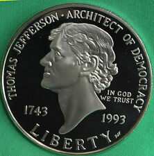 1993 Thomas Jefferson 250th Aniv. Proof 90% Silver Dollar Coin ONLY $1