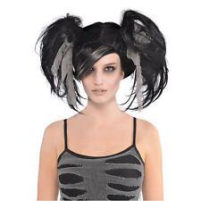 Zombie Mummy Black Pigtails Wig Halloween Adult Womens Fancy Dress Costume