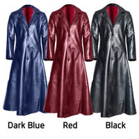 Men Steampunk Vampire PU Leather Long Coat Gothic Lapel Collar Goth Jackets Coat