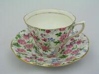 ROSINA CUP & SAUCER SET - CHINTZ PINK & PURPLE FLOWERS W/ GOLD TRIM # 5063