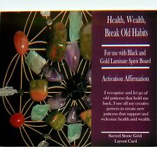 "HEALTH WEALTH BREAK OLD HABITS Grid Card 4x6"" Heavy Cardstock Use with Crystals"