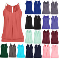 Women Summer Sleeveless Strappy Tank Tops Shirt Casual Loose Sling Vest Blouse