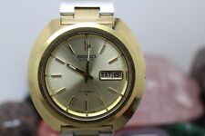 Vintage Seiko Automatic Gold Tone Day/Date Bullhead Men's Wrist Watch Running