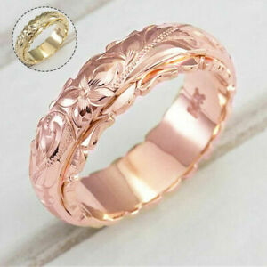 Women Carved Rose Flower Ring Sapphire Finger Rings Wedding Anniversary Jewelry