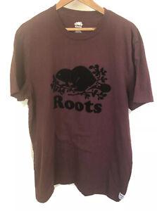 ROOTS Canada Vintage Maroon Logo Shirt Short Sleeve Size Extra Large