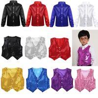 Kids Boys Shiny Party Costume Vests Sequins Waistcoat Hip-hop Jazz Dance Shirt