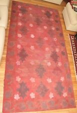 VTG MID CENTURY MOD ABSTRACT FLORAL OIL CANVAS HAND PAINTING FLOOR COVERING RED
