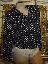 USA 2P Silk Blouse Black Beige Polka Dot Ruffle Collar L/S Petite Sophisticates
