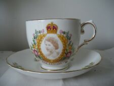 Vintage Coronation Cup Saucer Queen Elizabeth II 1953 Tuscan Bone China England